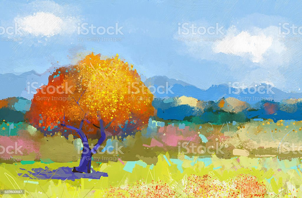 Oil painting of a colorful rural landscape vector art illustration