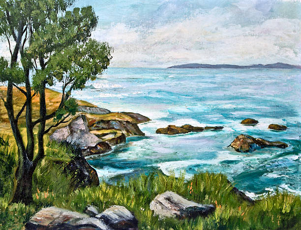 Oil painting of an ocean shoreline with rocks and tree stock photo