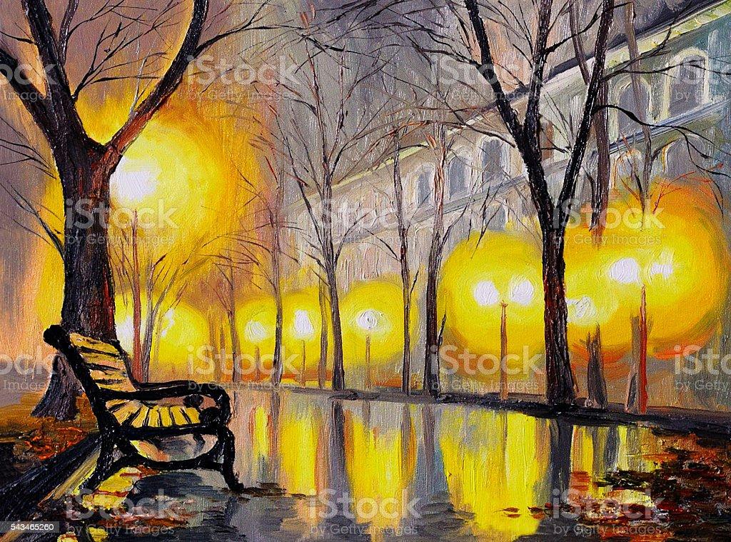 Oil painting of autumn street, art work