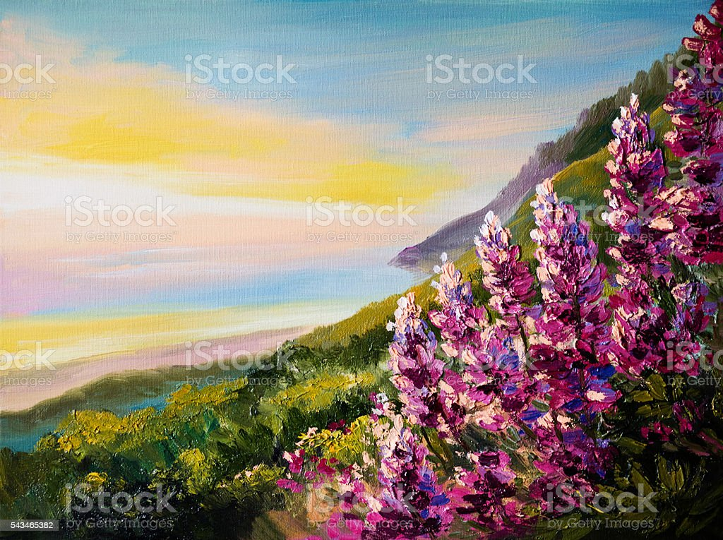 Oil painting of colorful sunset at Black Sea Coast – Foto
