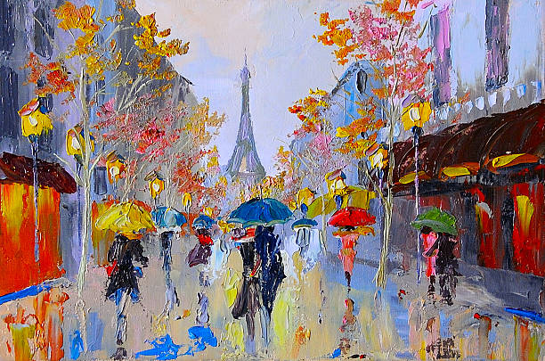 oil painting of  eiffel tower, france, art work - acrylbilder modern stock-fotos und bilder