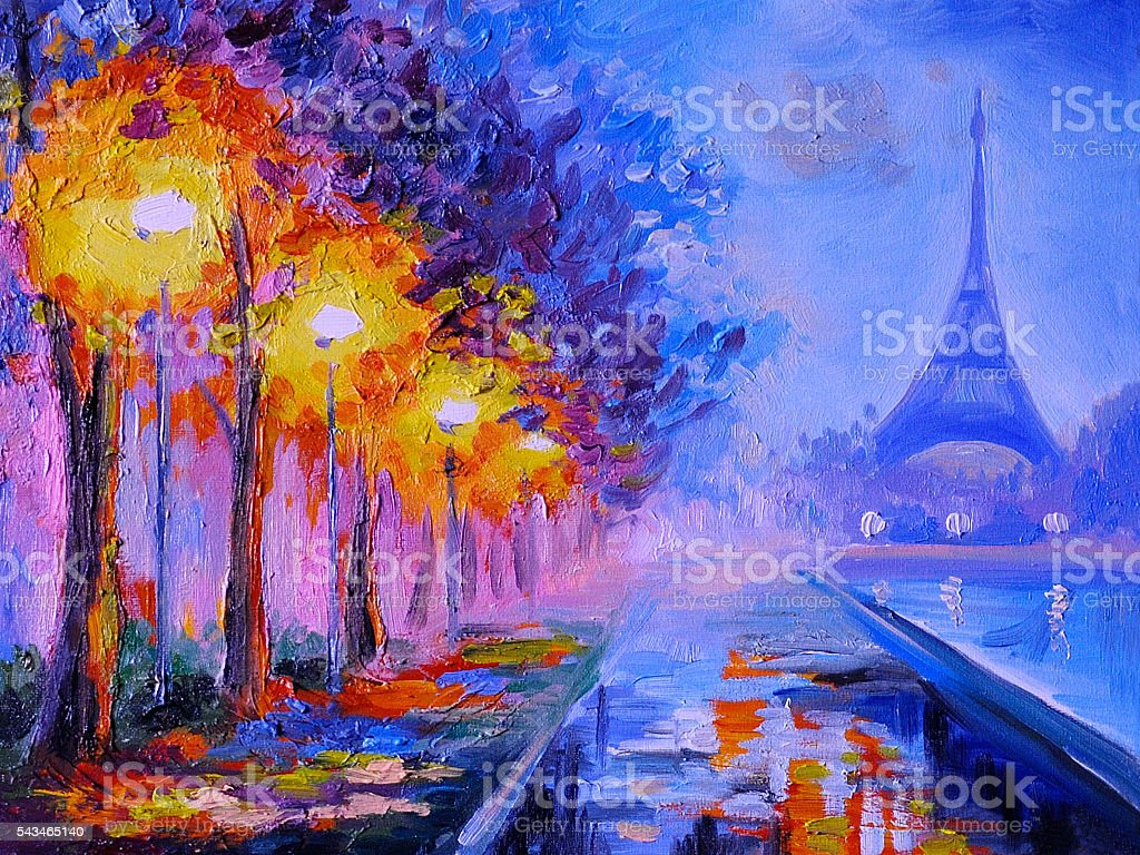 Oil painting of  eiffel tower, france, art work stock photo