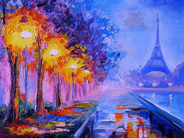 oil painting of  eiffel tower, france, art work - yağlı boya resim stok fotoğraflar ve resimler