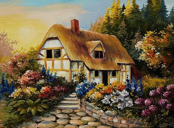 oil painting of fairy house, art work - märchenillustrationen stock-fotos und bilder