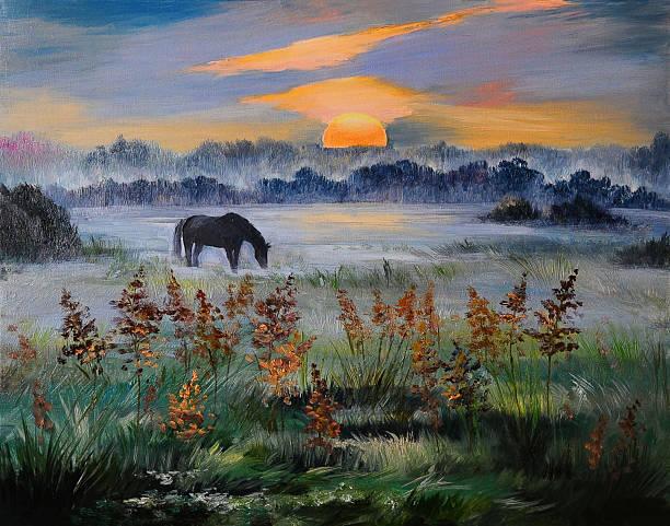 oil painting of field at sunset, art work - farbfeldmalerei stock-fotos und bilder