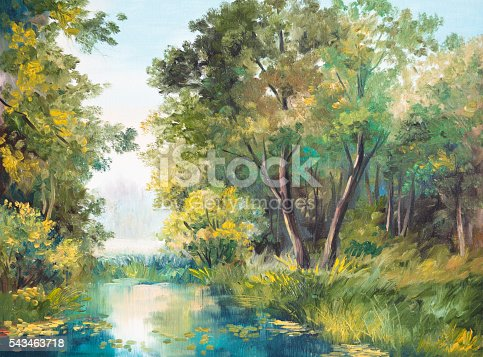 istock Oil Painting of forest landscape - pond in the forest 543463718