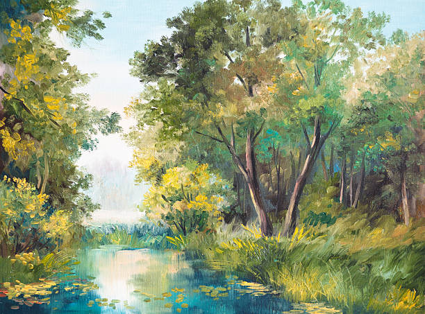 oil painting of forest landscape - pond in the forest - impressionist painting stock photos and pictures