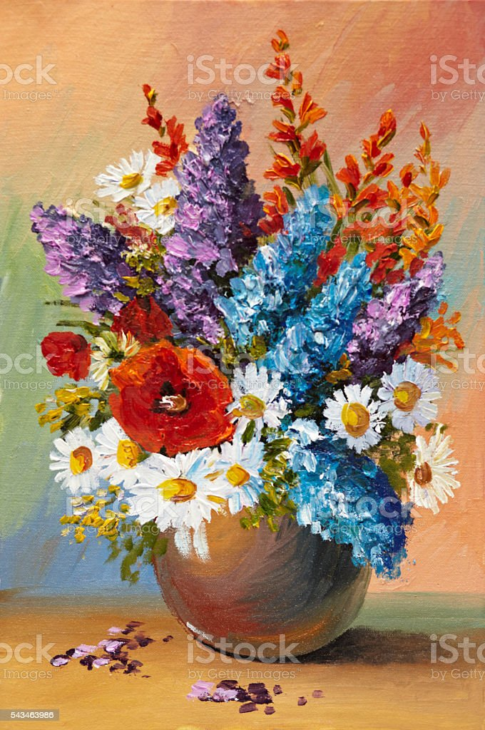 Oil painting of spring flowers in a vase on canvas – Foto