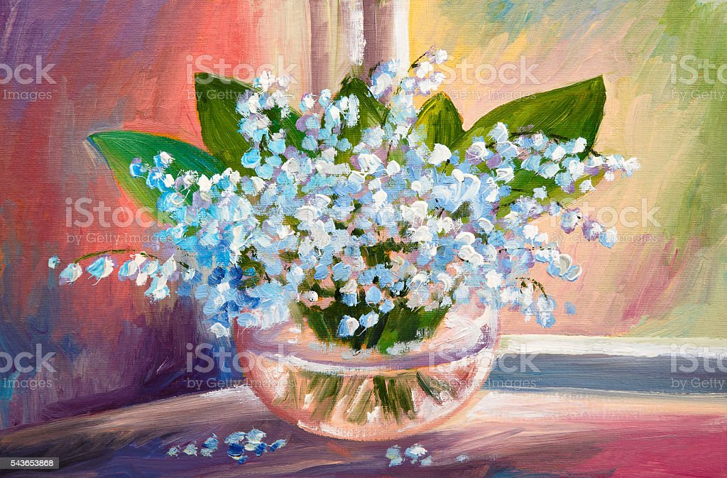 Oil Painting Of Spring Lily Of The Valley Flowers Stock Photo More
