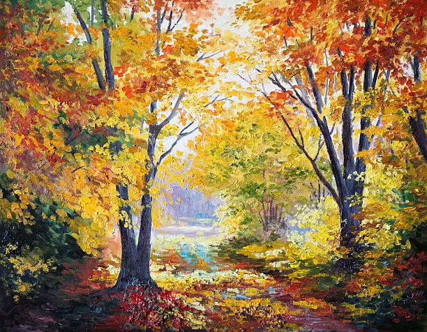 oil painting on canvas - autumn forest - bilder landschaften stock-fotos und bilder