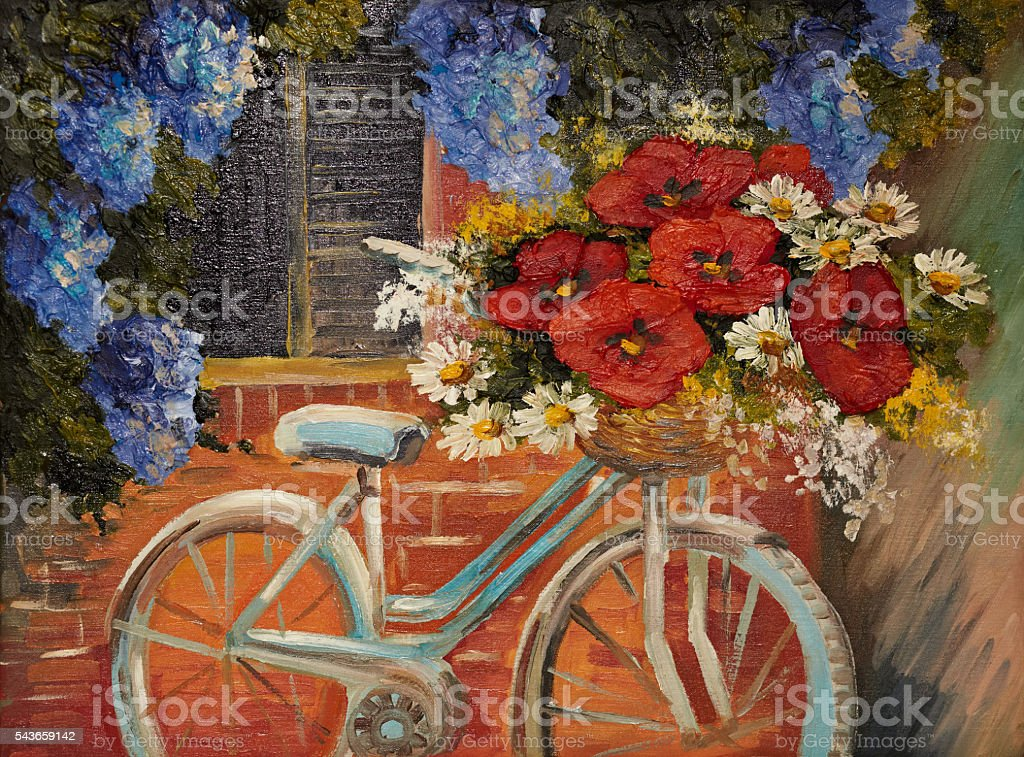 oil painting on canvas - flowers near a wall, bike stock photo