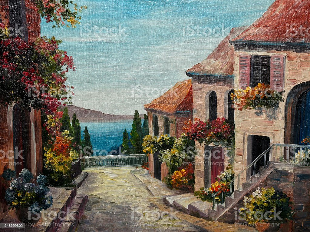 oil painting on canvas - house near the sea stock photo