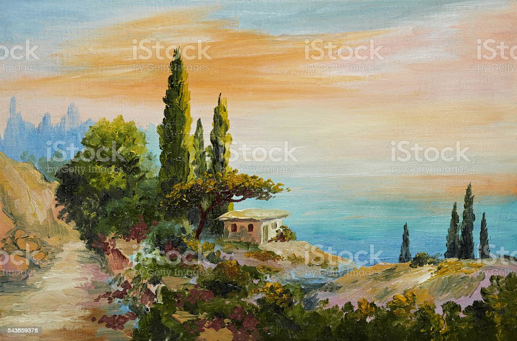 oil painting on canvas - house on the beach stock photo