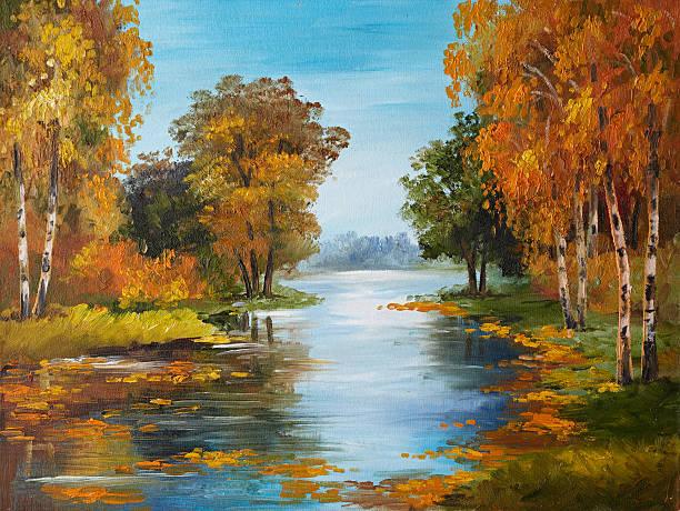 oil painting on canvas - river in forest - bilder landschaften stock-fotos und bilder