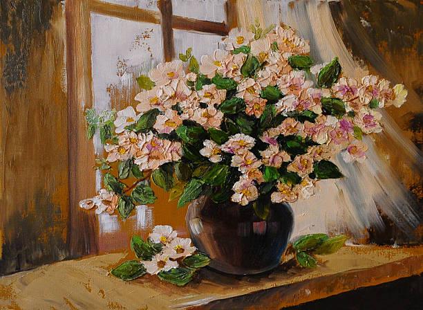 oil painting on canvas - still life flowers - yağlı boya resim stok fotoğraflar ve resimler