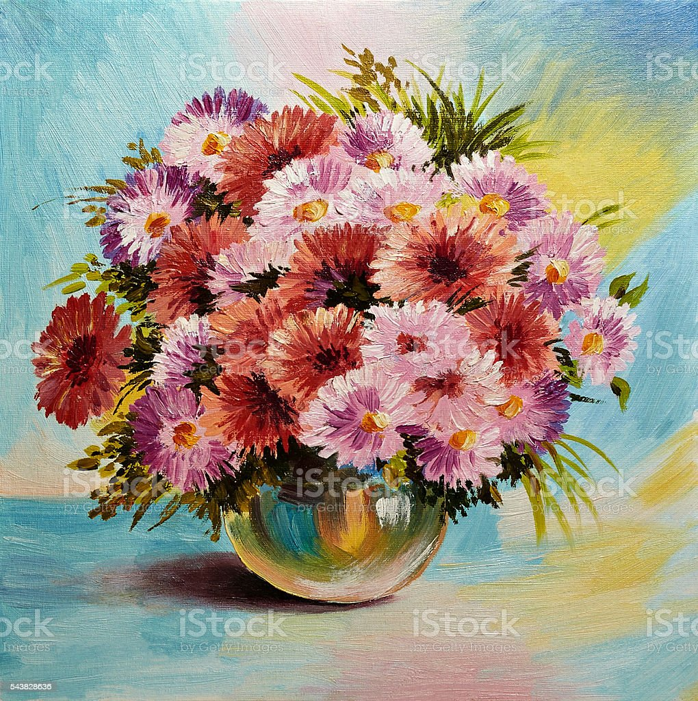 Oil painting on canvas - still life flowers – Foto