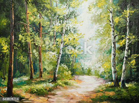 istock oil painting on canvas - summer forest 543828714