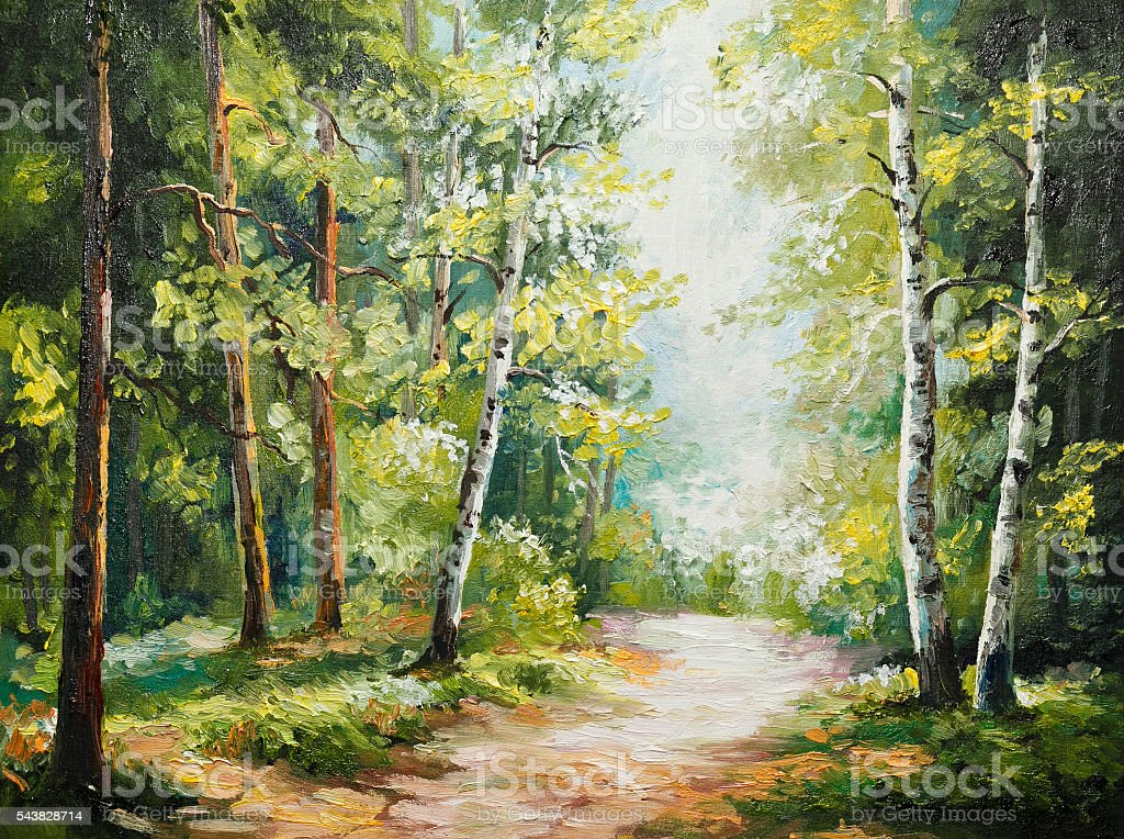 oil painting on canvas - summer forest stock photo