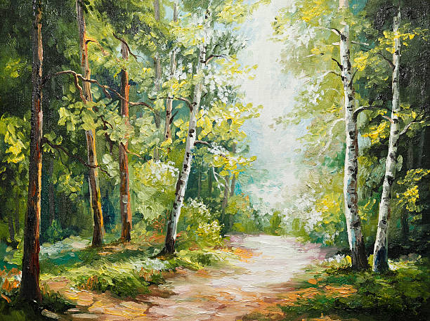 oil painting on canvas - summer forest - Photo