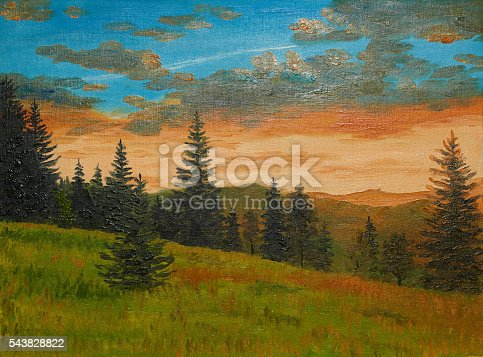 istock oil painting on canvas - sunset in the mountains 543828822
