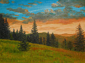 oil painting on canvas - sunset in the mountains, evening, drawing