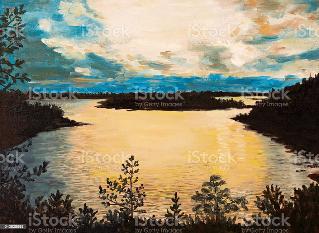 oil painting on canvas - sunset on the lake, abstract stock photo