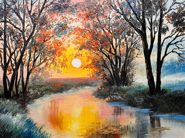 oil painting on canvas - the river - impressionist painting stock photos and pictures