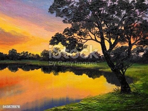 649796262istockphoto oil painting on canvas - tree near the lake 543828976