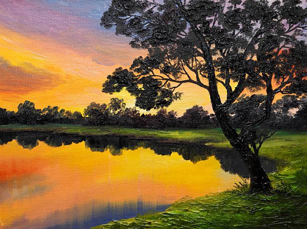 oil painting on canvas - tree near the lake - farbfeldmalerei stock-fotos und bilder