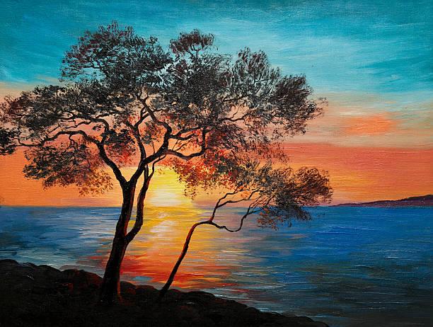 oil painting on canvas - tree near the lake - waldmalerei stock-fotos und bilder