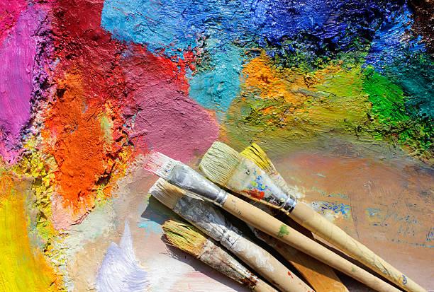 Ölgemälde weisen eine gute palette und Farbe Pinsel – Foto