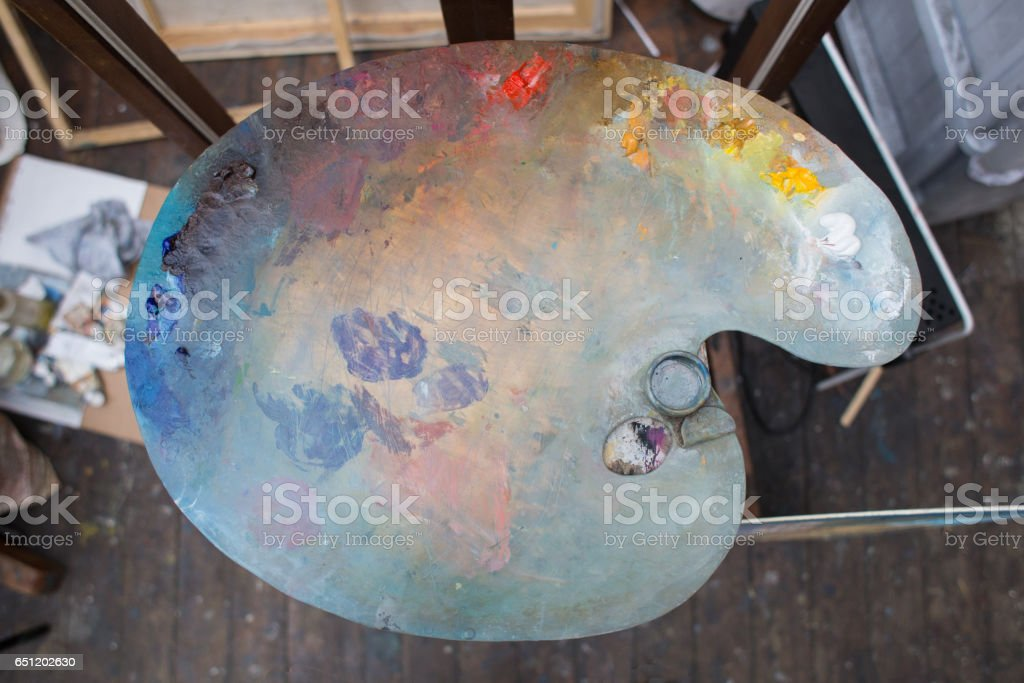 Oil Paints Palette in Studio, Close Up stock photo