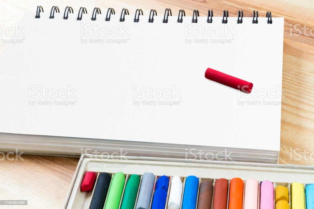 Oil pastel art picking for art drawing on paper book and set box of...