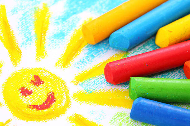 oil pastel crayons - preschool building stock photos and pictures