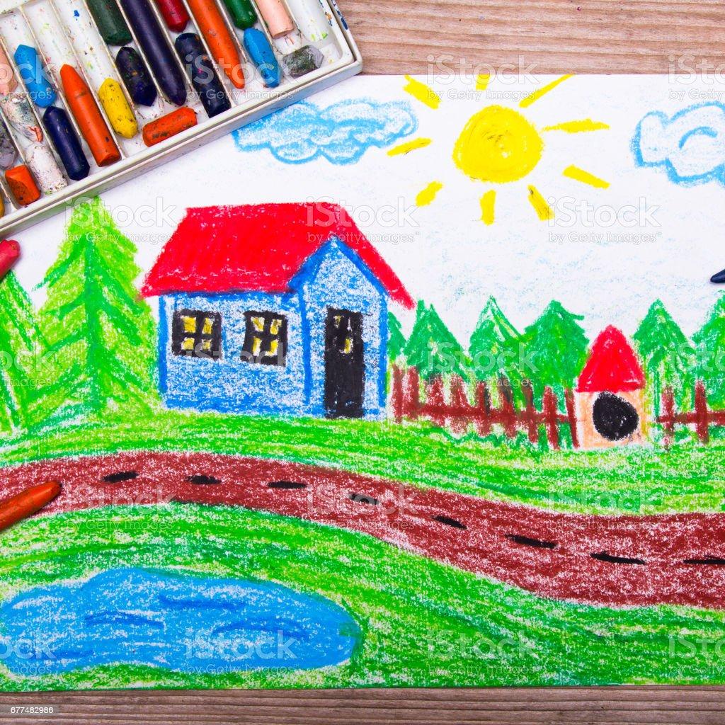 Pastels à lhuile dessin maison de campagne photo libre de droits