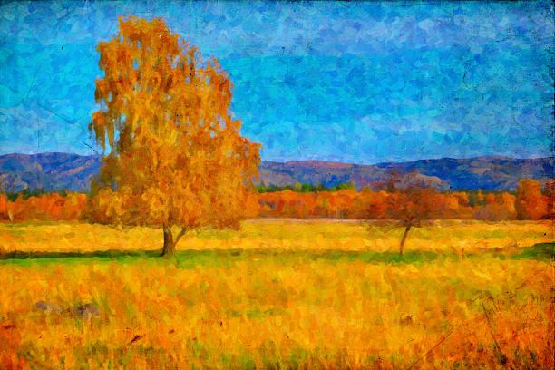 oil bild einer herbst-landschaft - bilder landschaften stock-fotos und bilder