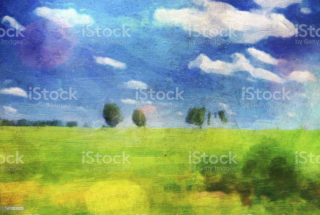 Oil picture a summer landscape stock photo