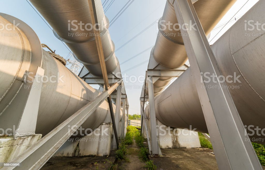 Oil pipe in oil factory stock photo
