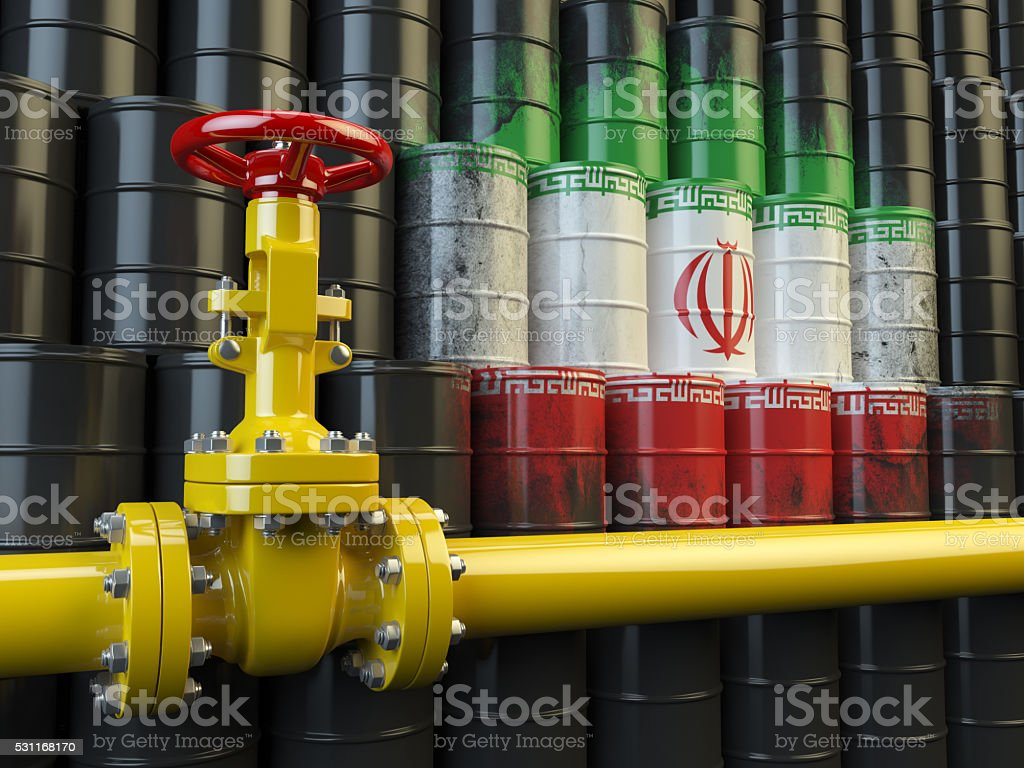 Oil pipe line valve in front of the Iranian flag stock photo