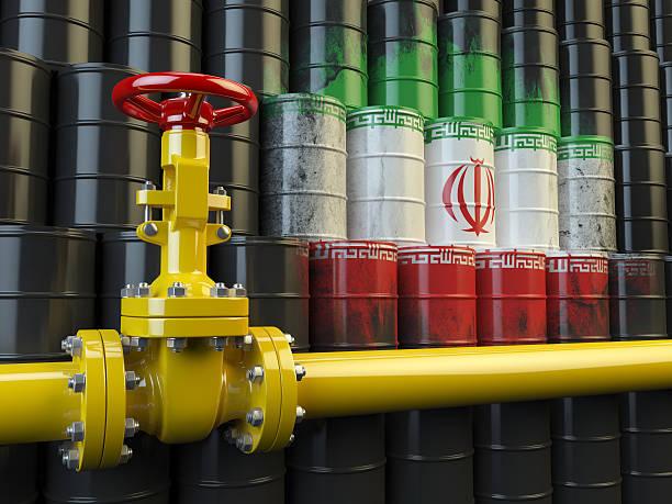 öl-pipe linie ventil vor dem iranische flagge - iranische stock-fotos und bilder
