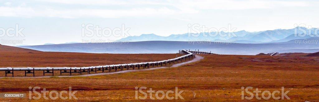 Oil pipeline panorama stock photo