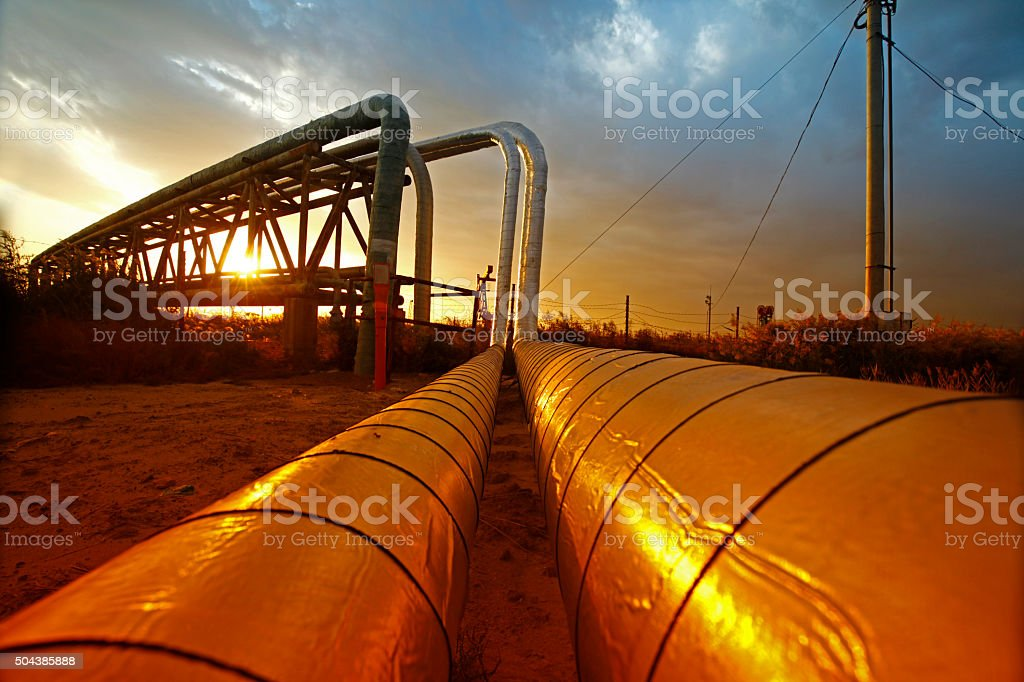 Oil pipeline, the oil industry equipment stock photo