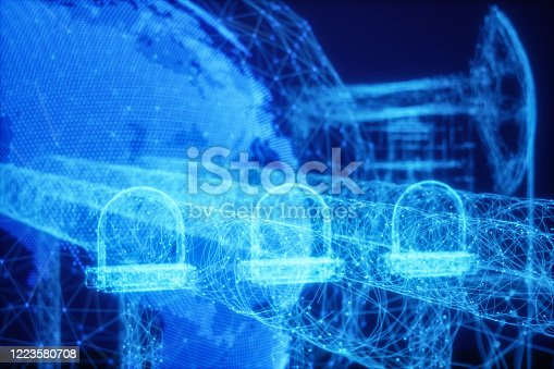 643972462 istock photo Oil Pipeline with Triangle Shapes Lines And Dots Forming A Plexus Background 1223580708