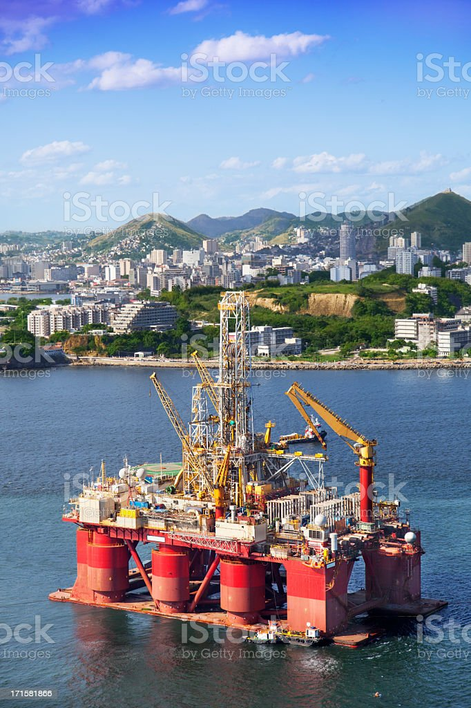 Oil platform anchored in Rio de Janeiro royalty-free stock photo