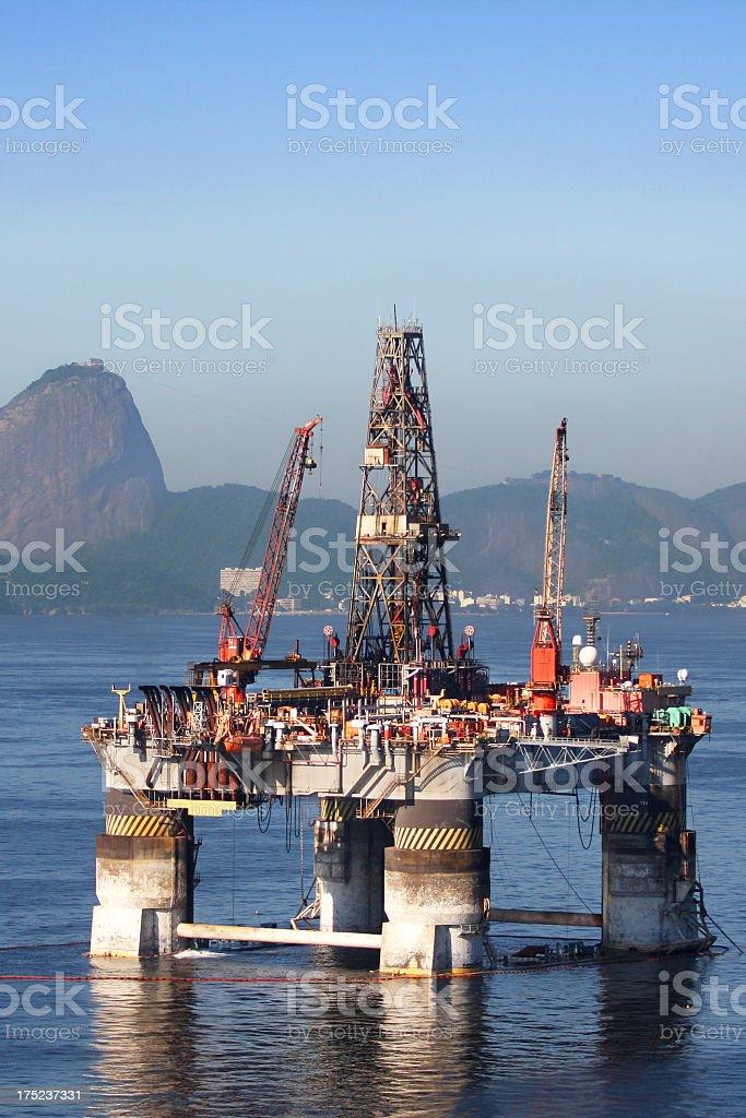 Oil platform anchored in Rio de Janeiro royalty-free stock photo