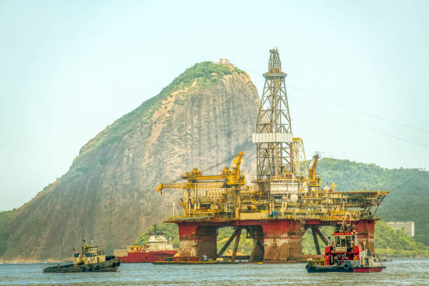 Oil platform anchored