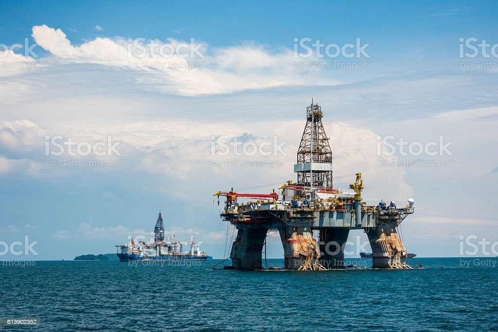 Oil platform Brunei stock photo