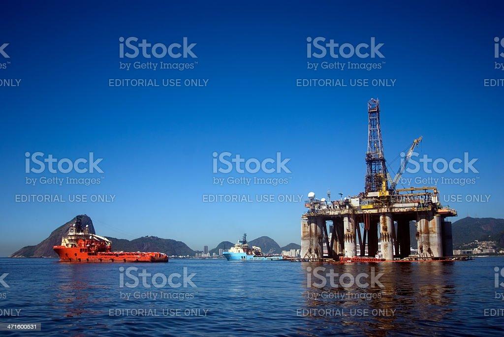 Oil platform, Guanabara Bay, Brazil stock photo