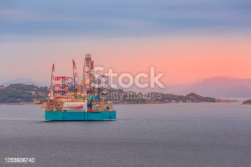 Oil rig, offshore platform in Stavanger, Norway fjord with copy space
