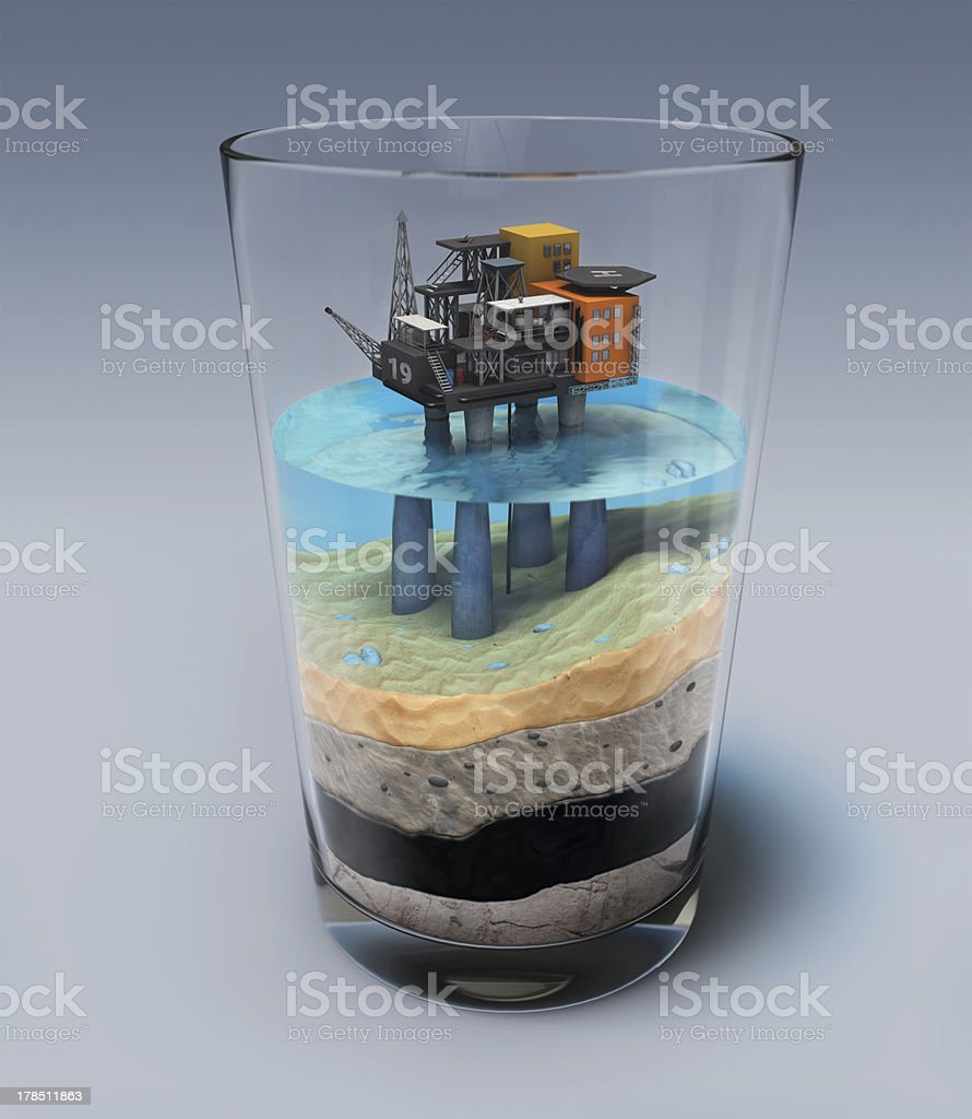 Oil platform in the glass stock photo
